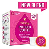 VitaCup Beauty Blend Coffee K Pods 16 Ct. Infused with Collagen, Biotin, Cinnamon, and Essential Vitamins, Compatible with Keurig 2.0 K-Cup Brewers