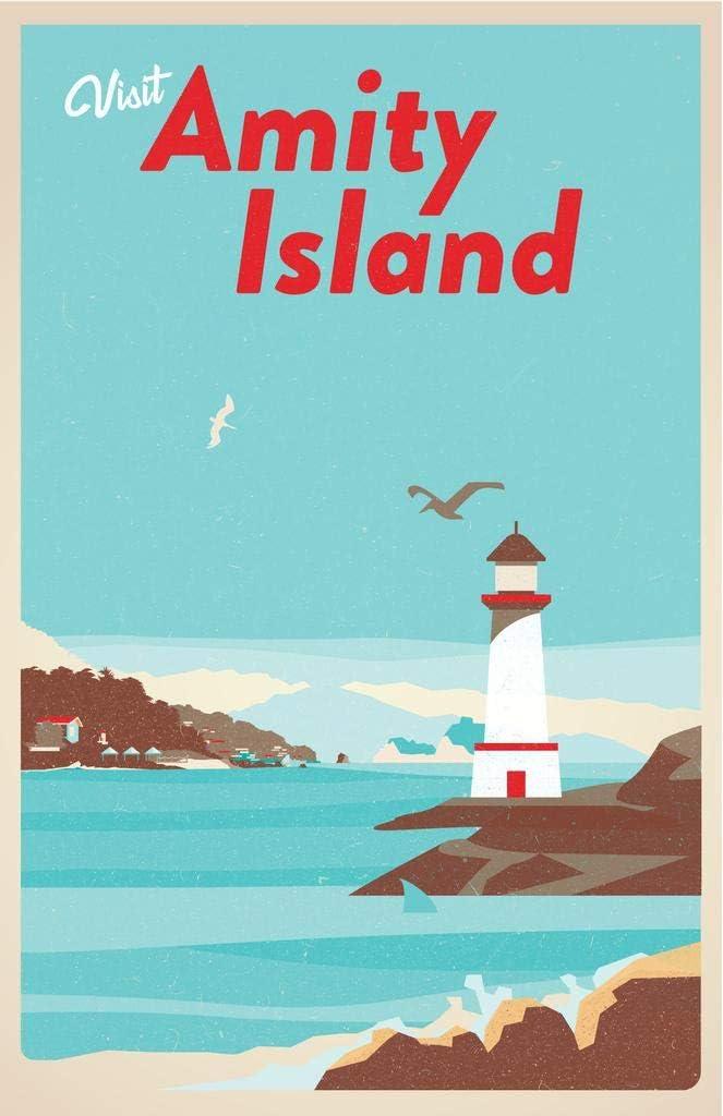 Visit Amity Island Massachusetts Fantasy Travel Retro Vintage Shark Fin Shark Attack Lighthouse Beach Cool Wall Decor Art Print Poster 24x36