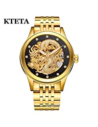 KTETA Dragon Skeleton Automatic Mechanical Watches For Men Wristwatches Stainless Steel Strap 50M Waterproof (Gold&Black)