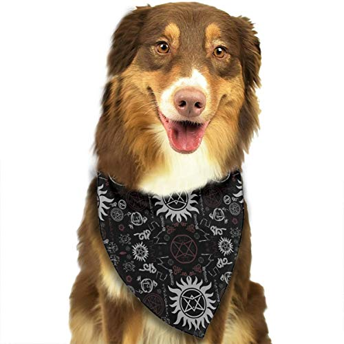 ANYWN Pet Dog Bandanas Triangle Bibs Scarfs Supernatural Symbols Black Accessories for Puppies Cats Pets Animals Large -