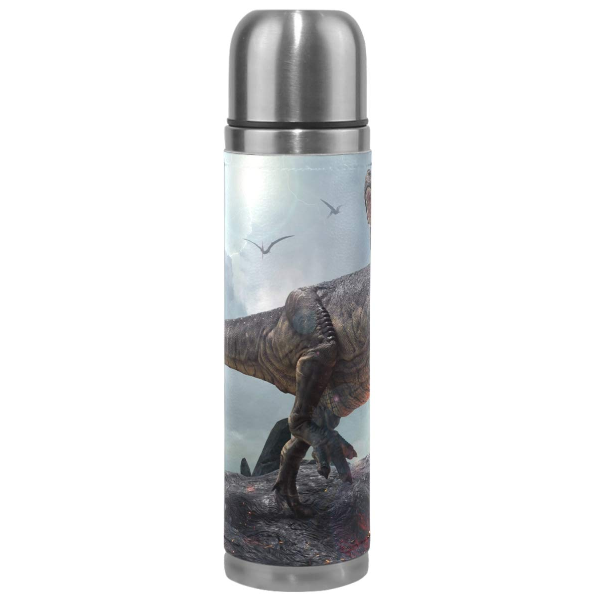 Wamika Dinosaur Animal Vacuum Insulated Stainless Steel Water Bottle, 3D Dinosaurs Sports Coffee Travel Mug Thermos Cup Genuine Leather Cover Double Walled BPA Free 17 Oz