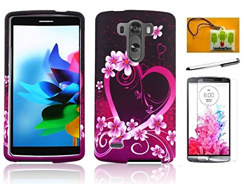 LF 4 in 1 Bundle - Purple Heart Designer Hard Case Cover, Stylus Pen, Screen Protector & Wiper for (Verizon, AT&T, Sprint, T-Mobile) LG G3 (Purple Heart)