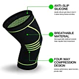 Relax Artist Compression Knee Brace Knee Sleeve Support for Sports, Running, Jogging, Basketball, Joint Pain Relief, Arthritis and Injury Recovery, Men and Women, Green, Single