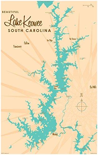 Lake Keowee South Carolina Map Vintage-Style Art Print by Lakebound (30