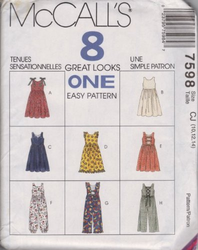 McCall's Pattern 7598 for Girl's Jumper & Jumpsuit, Size CJ (10, 12, 14) - Pattern Girls Jumper