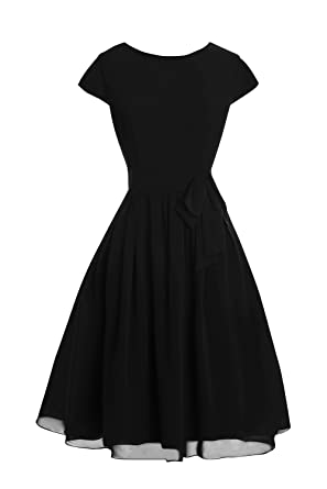 a7d8b45e155 Dora Bridal Women´s Sleeves Knee Length Chiffon Mother Dresses 2016 Black
