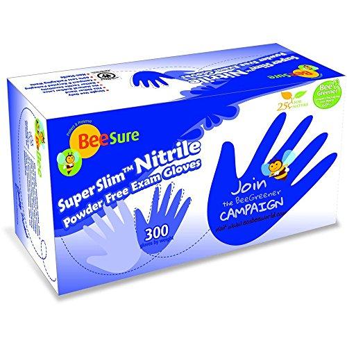 Beesure BE1147 Series BE1140 Super Slim Nitrile Powder Free Exam Glove, Ultra Soft, Latex Free, Medium, Light Blue (Pack of 300)
