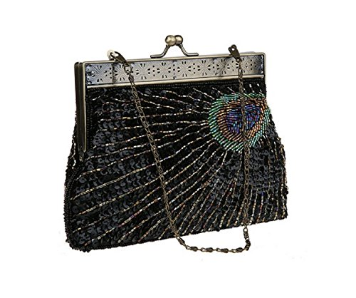 ADOO Vintage Clutch Teal Peacock Unusual Antique Beaded Sequin Evening Handbag Sunburst Navy and Turquoise Eye Catching Purse Black
