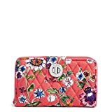 Vera Bradley Women's RFID Turnlock Wallet-Signature, Coral Floral, One Size
