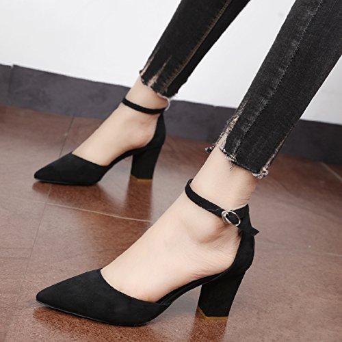Xue Qiqi Zapatos de la Corte Wild Baotou pesados con solo zapatos femeninos ranurados para el hueco a la luz del alto-Heel Shoes zapatos de punta,35, negro Negro