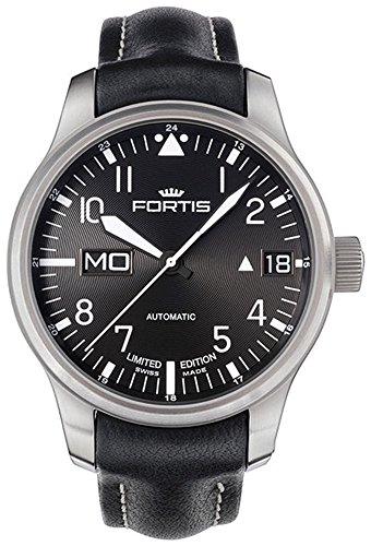 fortis-mens-7001081-l01-f-43-flieger-black-leather-strap-automatic-watch