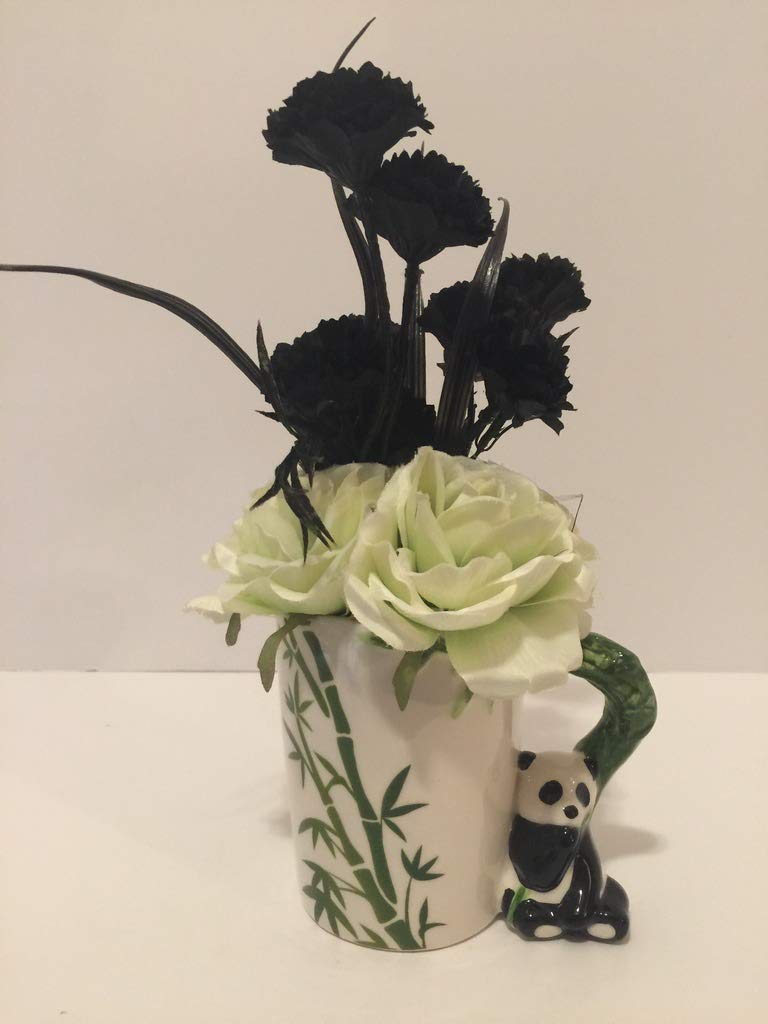 ANIMAL FUN - PANDA VASE - WHITE WITH GREEN TINT ROSES AND BLACK CARNATIONS