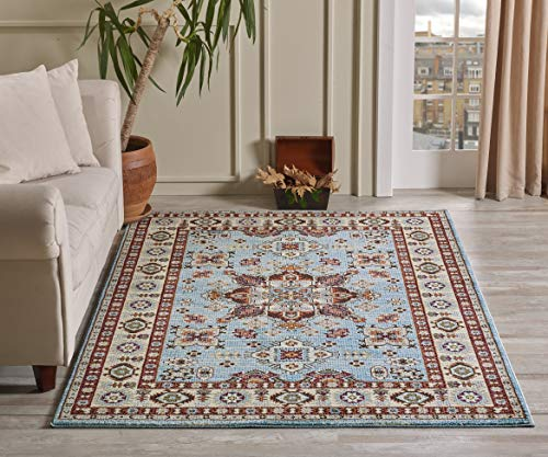 Golden Rugs Gabbeh Collection Persian Area Rug 4x6 Medallion Blue Hand Touch Vintage Traditional Texture for Bedroom Living Dining Room 7315 (4x6, Blue)