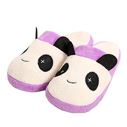 Unión Tesco algodón Zapatillas, zapatillas Interior Slipper en Panda Diseño, invierno térmica Peluche Zapatillas Negro negro