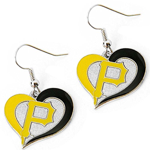 MLB Pittsburgh Pirates Team Logo Swirl Heart Earring Sports Fan ()