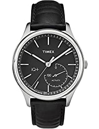 Timex Men's TW2P93200L3 Fashion IQ+ Move Black Dial with Black Leather Strap Watch