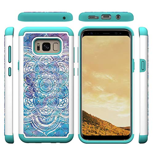 Firefish Galaxy S8 Plus Case,Durable Slim 2 in 1 Hybrid Case Back Cover Rugged PC Shell with Colorful Pattern & Point Drill Inner Soft TPU Bumper Case Compatible with Samsung Galaxy S8 Plus -Mandala