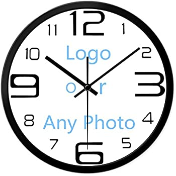 Use Any Photo Or Logo Custom Wall Clock Silent Metal Non Ticking 10 Inch Or