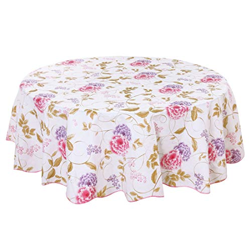 uxcell Seamless Stain Water Resistant Vinyl Round Tablecloth 60