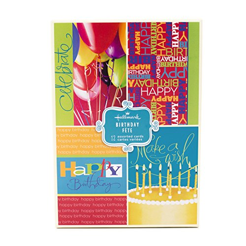 Birthday Boxed Cards 12 Box - Assorted Birthday Greeting Cards, Hallmark (Bright Icons, 12 Cards and Envelopes)