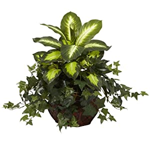 Nearly Natural 6732 Dieffenbachia and Ivy with Decorative Planter, Green 75