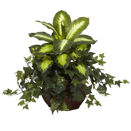 Nearly Natural 6732 Dieffenbachia and Ivy with Decorative Planter, (Green Round Planter)