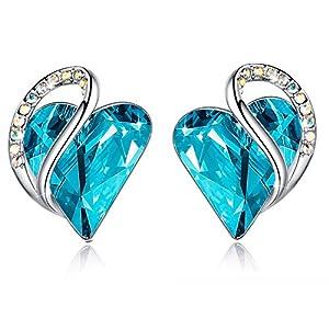 Leafael Infinity Love Silvertone with Birthstone Crystal Women's Gifts Heart Earrings