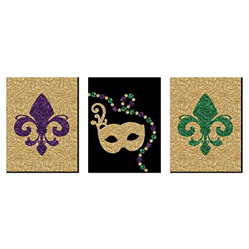 Mardi Gras - Fleur de Lis Wall Art, New Orleans Decor and Masquerade Themed Room Home Decorations - 7.5 x 10 inches - Set of 3 Prints]()
