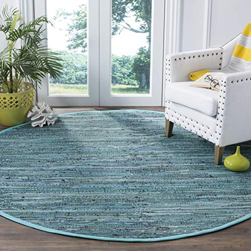 Safavieh Rag Rug Collection RAR127C Hand-Woven Turquoise Blue and Multi Flatweave Cotton Round Area Rug (4' in Diameter)