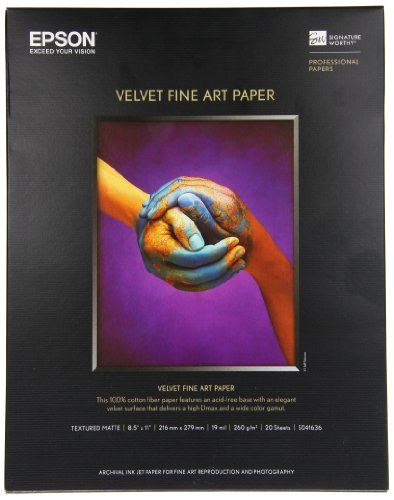 - Epson Velvet Fine Art Paper (8.5x11 Inches, 20 Sheets) (S041636)