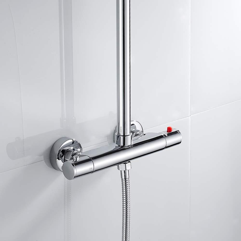 Dightyoho Grifo Termostatico de Ducha y Ba/ñera Grifo de ducha Termostato Mezclador de ducha Grifo de ba/ño termost/ático 2 salidas a 38/° bot/ón de seguridad cromado