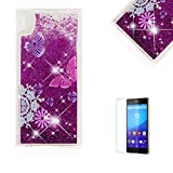 Funyye Glitter Liquid Case for Sony Xperia XA1,Stylish Multi-Coloured Sparkle Quicksand Purple Butterfly Design Ultra thin Transparent Shell Case for Sony Xperia XA1,Soft Flexible Silicone Gel TPU Bumper Back Cover Case for Sony Xperia XA1 + 1 x Free Screen Protector