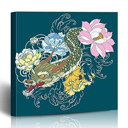 Ahawoso Canvas Print Wall Art 12x12 Inch Dragon Tattoo Lotus Chrysanthemum Peony Cherry Flower Modern Artwork Printing Home Decor Wrapp Gallery Painting -