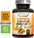 Turmeric Curcumin Highest Potency 95% Standardized with BioPerine and Ginger 1950mg - Black Pepper for Best Absorption