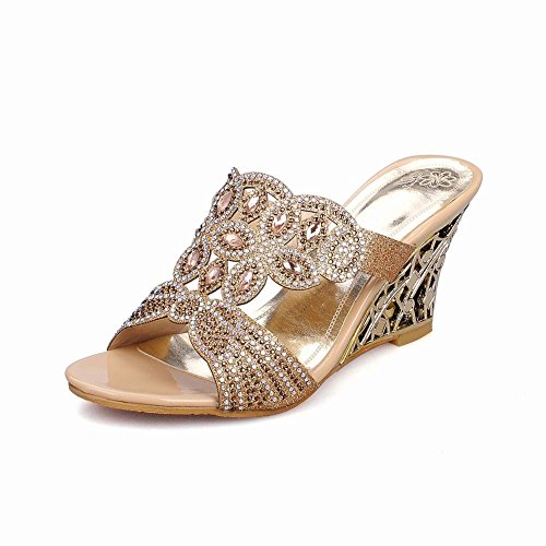 aed2f30c9497 best Latasa Womens fashion Rhinestones Open-toe Slip On Wedge Slide Sandals