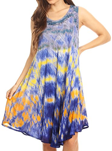 - Sakkas 15803 - Nora Sleeveless Embroidered Short Tie Dye Caftan Dress/Cover Up - SkyBlue - OS
