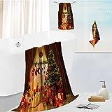 toddler bath towel set Christmas Tree in Room,Xmas Home Night Interior,Fireplace Lights Decoration,Hanging Socks Ultra Softness & Absorbency 19.7''x19.7''-13.8''x27.6''-31.5''x63''
