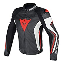 Dainese Assen Mens Leather Motorcycle Jacket Black/White/Fluo Red 50 Euro/40 USA