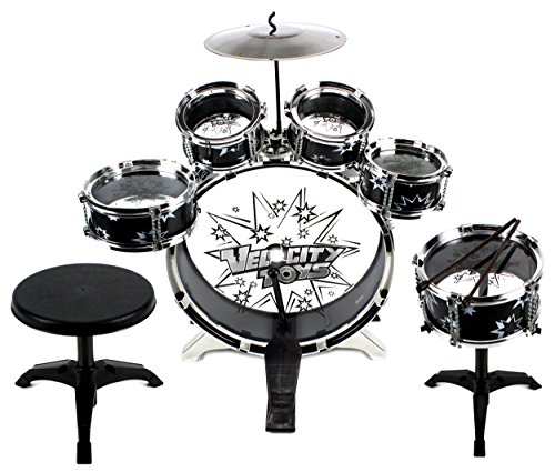 11 Piece Kids Dum Set Children's Musical Instrument Drum Play Set w/ 6 Drums, Cymbal, Chair, Kick Pedal, Drumsticks (Black)