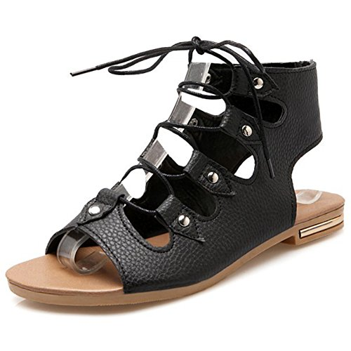 Summerwhisper Women's Trendy Cut out Rivets Studded Flat Lace-up Sandals Ankle High Gladiators Black 11 B(M) (Roman Outfits For Womens)