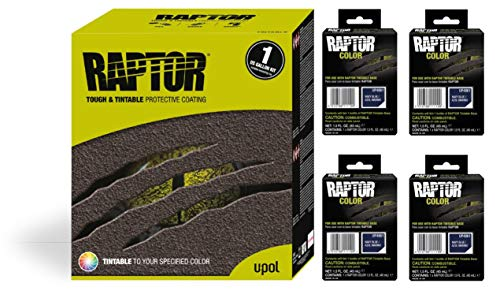 Raptor UP5061 Truck Bed Liner 1US Gallon + 4 Navy Blue Colors Bundle