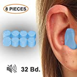 Earplugs for Sleeping, Moldable Wax Noise Cancelling Sound Blocking Eerplugs NRR 32 Reusable Noise Reduction for Swimming Shooting Snoring Airplanes Musicians Concerts Silicone 8 Pieces