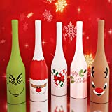 Holiday Gear Christmas Wine Bottle Covers & Decorations Wine Skins ~ Unique Holiday Wine Decor ~ Set of 5 Christmas Wine Bottle Covers