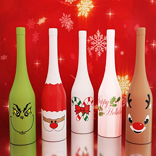 Holiday Gear Christmas Wine Bottle Covers & Decorations Wine Skins ~ Unique Holiday Wine Decor ~ Set of 5 Christmas Wine Bottle -