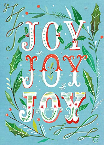 Joy Joy Joy Boxed Holiday Greeting Cards with Silver Foil Accents (Lotus Note Cards)