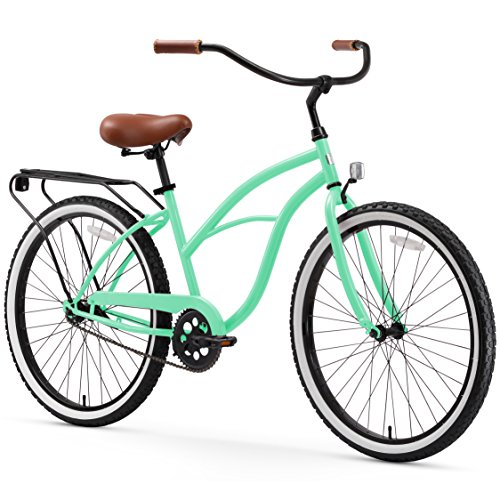 "sixthreezero Around The Block Women's Single Speed Cruiser Bicycle, Mint Green w/ Brown Seat/Grips, 26"" Wheels/17"" Frame"