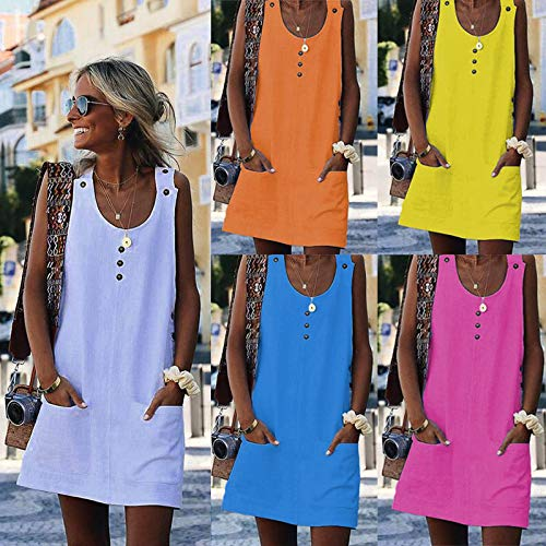ThusFar Women\'s Summer Button Mini Dress - Casual Sleeveless Crew Neck Solid Color Sundress with Pocket Medium Yellow