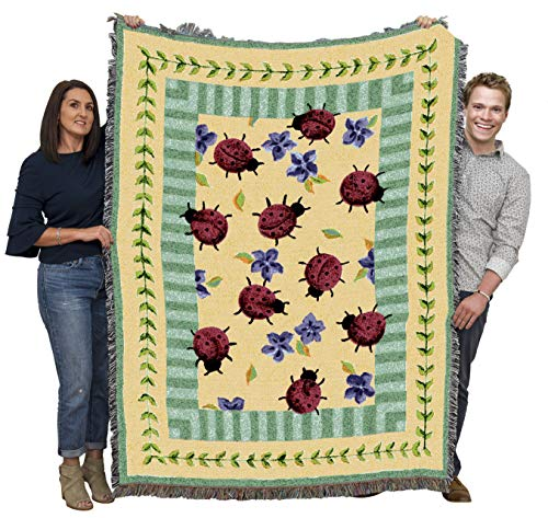 Pure Country Weavers - Lady Bug Garden Woven Large Soft Comforting Throw Blanket with Artistic Textured Design Cotton USA 72x54 from Pure Country Weavers