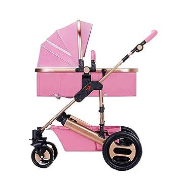 Alto Paisaje Cochecito De Bebé De Luz Ruedas Plegable Puede Sentarse Puede Estar Mintiendo Bebé Carro De Bebé Carrito De Niños Vehículos,Pink: Amazon.es: ...