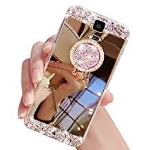 Mirror Makeup Case Cover with Ring for Samsung Galaxy S5 I9600,Sunroyal Luxury Crystal Clear Soft Rubber Bumper Shiny Case Bling Glitter Rhinestone 3D Handmade Diamond Anti Scratch -Gold